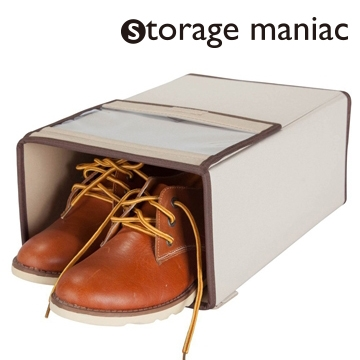 StorageManiac Deluxe Menu0027s Shoe Box With See Through Lid, Stackable Shoe  Storage Box For