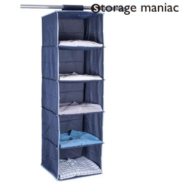 StorageManiac Heavy Duty 5 Shelf Hanging Organizer, Hanging Closet Organizer  With Loop Closure,