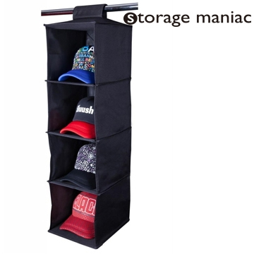 StorageManiac Collapsible 4 Shelf Hanging Shelves, Durable Canvas Hanging Closet  Organizer, Black